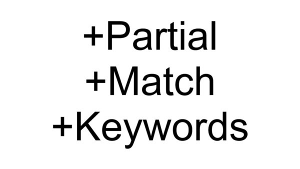 Partial Match Keywords