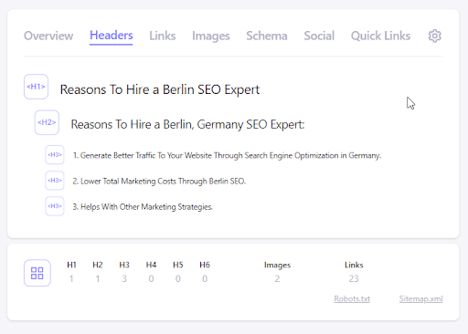 Detailed SEO Extension Headers